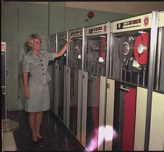 Camp Smith, Hawaii. PFC Patricia Barbeau operates a tape-drive on the IBM 729 at Camp Smith., 10/1969