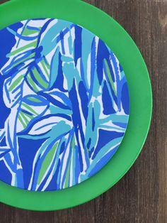 Blues Patterned 10  Dinner or 8  Salad Melamine Plates with Monogram & Blues Patterned 10
