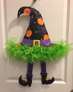 Items similar to Witch Hat Wreath, Halloween Witch Wreath; Black Deco Mesh Witch Hat Wreath with Legs & Broom, Orange and Purple Halloween Witch Hat Wreath on Etsy Halloween Prop, Moldes Halloween, Halloween Witch Wreath, Adornos Halloween, Purple Halloween, Manualidades Halloween, Halloween Labels, Halloween Cards, Halloween Treats