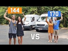 Which Sprinter Van is the right size for your tiny house conversion? 144 or 170 wheelbase? Today we sit down with Sara & Alex from 40 Hours of Freedom to ch. Sprinter Van Conversion, Conversion Van, Van Conversion Bathroom, Diy Van Conversions, Van Home, Sprinter Camper, Cool Vans, Life Is An Adventure, Home And Away