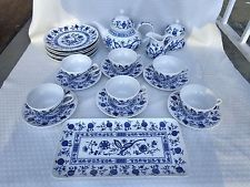 BLUE ONION SELTMANN WEIDEN BAVARIA 24 PIECE PORCELAIN TEA SET
