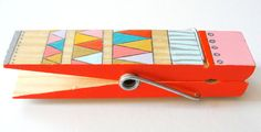 Giant Clothespin Magnet - Hand Painted Wood Magnet (Coral, Teal, Gold, Tangerine) - Geometric, Triangles, Color Block