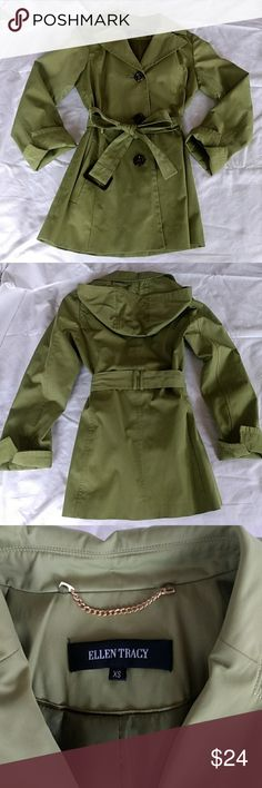 Short rain jacket Apple green short trench coat. Water resistant. Perfect condition. Pockets, belt, extra button, removable hood. Clean, smoke free house. Ellen Tracy Jackets & Coats Trench Coats