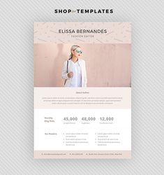 2 Page Blog Media Kit Template  Press Kit by ElissaBernandes