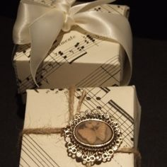 Upcycled sheet music for wedding favor boxes