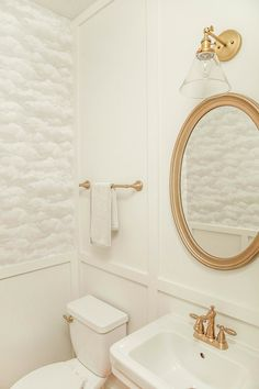Powder Room Renovation Reveal | board and batten | cloud wallpaper via In Honor Of Design
