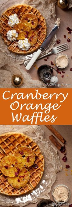 Cranberry Orange Waffles are a great addition to your Christmas breakfast repertoire. Vegetarian Breakfast, Breakfast Bake, Best Breakfast, Breakfast Buffet, Breakfast Club, Vegetarian Recipes, Brunch Recipes, Sweet Recipes, Breakfast Recipes