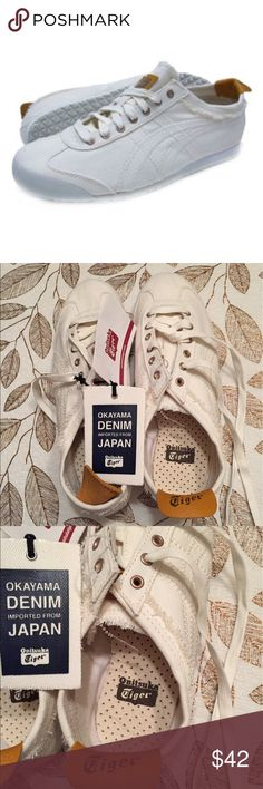 Tiger Denim Shoes Youth size 5 (equivalent to womens size 7). Denim off white. Never worn. No stain, no tears. In excellent condition. Onitsuka Tiger Shoes