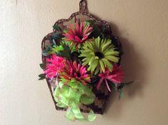 Summer floral, Spring flower wreath, brite daisy wreath, wicker daisy wreath,Lime & pink wreath, unique spring wreath