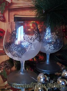 Christmas Winter Set of 2 Hand Painted by PaintedGlassBiliana