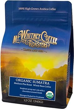 Mt Whitney 12 oz USDA Certified Organic Sumatra Gayo Mountain Whole Bean Medium Plus Roast Coffee Packed in Nitrogen for Freshness *** You can get additional details at the image link.