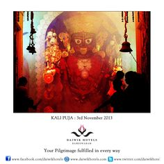 KALI PUJA:  In Bengal and Assam the day of Diwali is when people worship the goddess Kali. This festival began in the 18th century in Bengal when a local ruler, Raja Krishnachandra of Navadwipa began a yearly festival to worship Kali. The festival is celebrated on the first moonless, amavasya night of the month of Kartik.  The puja goes on all night and the image of Kali and Lord Shiva is worshipped.