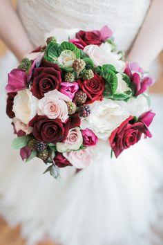 Berry infused bouquet: http://www.stylemepretty.com/new-york-weddings/new-york-city/2015/04/14/elegant-winter-wedding-inspiration-at-carnegie-hall/   Photography: Alexis June - http://alexisjuneweddings.com/
