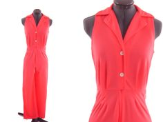 VTG 70s Jumpsuit  Orange Sleeveless Mod Disco Hippie Size  S #unknown#vintgaejumpsuit