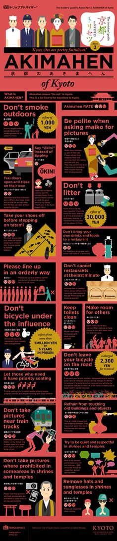 Kyoto foreigners instruction manual. Japan Japanese infographic