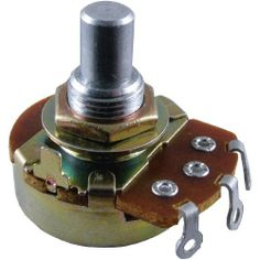 """Alpha Potentiometer, 50K-RA Reverse Audio by Alpha Potentiometers. $1.75. Guitar Amp Potentiometer. Audio/Log pots are typically used for volume control, and Linear pots are typically used for effects. 50K Reverse Audio. Fits 3/8"""" Hole. 1/4"""" Solid Shaft. 24mm Body, Solder Lugs, 1/2 Watt Rated, 300° Rotation, 250VDC Rated, Carbon Composition. Comes With Hex Nut and x2 Washers"""