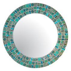 Sea Green Beach Mosaic Mirror - Round Glass Mosaic