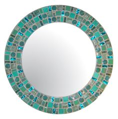 Sea Green Beach Mosaic Mirror - Round Glass Mosaic