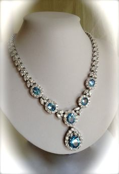 Vintage Sterling Silver Aquamarine and Diamond Estate Jewelry Necklace
