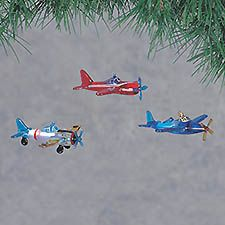 Glass Airplanes Christmas Ornament