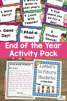 "End of Year Activities for 3rd, 4th, or 5th grade - Use this 38 page pack in your upper elementary classroom to celebrate the #EndOfYear. These printables are fun, engaging, and keep students motivated on those last days. You get autograph pages, favorite books list, ""My Favorite"" lists, My Year in ABCs, 20 countdown activity cards, now and then (beginning and end of year comparison), plus more! #thirdgrade #fourthgrade #fifthgrade 5th Grade Classroom, Classroom Ideas, Students Day, End Of Year Activities, Word Of Advice, Fifth Grade, Abcs, Upper Elementary, 5th Grades"