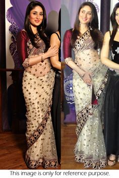 Bollywood replica kareena kapoor net saree in off white colour 128 Peach Saree, White Saree, Pakistani Dresses, Indian Sarees, Abaya Fashion, Indian Fashion, Saree Models, Saree Look, Ethnic Wear Designer