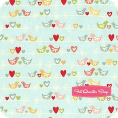 The Sweetest Thing Blue Birds on a Wire Yardage SKU# C2981-BLUE - Fat Quarter Shop
