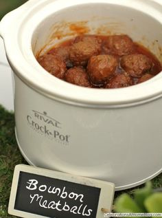 Bourbon Cocktail Meatballs 32 ounce bag Frozen meatballs 2 C bbq sauce 1 C bourbon 1 C mustard 1 C honey 1 t garlic powder 1 t dried onion flakes 3 T lemon juice 1/4 t Worcestershire sauce Add frozen meatballs to large crock pot. Combine all of sauce ingredients together in a bowl and then pour over meatballs. Add lid and cook on high for 2-3 hours. Turn to low or warm setting and serve.