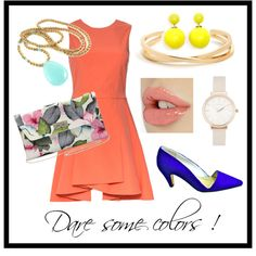 colorful summer set / orange and blue / stylish with a vintage touch Olivia Burton, Alice Olivia, Blue Suede, Stilettos, Polyvore Fashion, Boards, French, Colors, Stuff To Buy