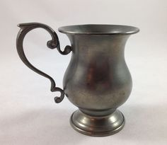 Vintage Peltro Pewter Pedestal Cup 95% Pure Scroll Handle
