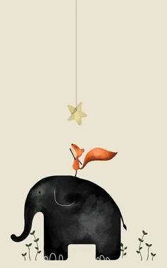 Reach for the stars! | An unlikely couple: an elephant helping a fox | primitive illustration | cute drawing | iPhone/android/smartphone wallpaper