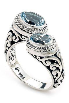 a7395de2c Sterling Silver Oval Blue Topaz Bypass Ring Bypass Ring, Blue Topaz, Sterling  Silver Jewelry