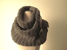 Charcoal gray chunky scarf with leather buckle by EandAHeritage