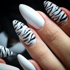 Zebra Print Nails To Let Your Inner Animal Out: Animal Print Accents On Flawlessly White Base Animal Print Accents On Flawlessly White Base Zebra Nail Designs, Zebra Nail Art, Zebra Print Nails, Gel Nail Designs, Animal Nail Art, Gorgeous Nails, Pretty Nails, Sharpie Nails, Tiger Nails