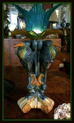 Art Deco lamp majolica en glas