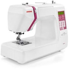 Owners love the Janome DC5100, despite its hefty pricetag.  This is a powerful yet quiet sewing machine that is capable of 820 stitches per minute.  It also comes with 10 presser feet and a host of other accessories.  Owners report that it is well-built and capable of easily sewing through many layers of material at the same time.  One should be able to find this online for about $600.