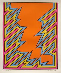 Nicholas Krushenick Pop Art print for sale, Bolt, 1979