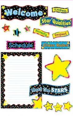 Back-To-School Stars Bulletin Board Set is perfect for classroom doors, hallways, and anywhere else you need to welcome students!