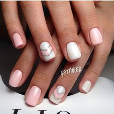 Light summer nails, Nail art stripes, Nails trends 2017, Pale pink nails, Pink manicure ideas, Striped nails, Summer nails ideas, White nails ideas