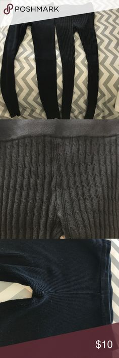 Two pairs of black leggings One cable stripe Mossimo and one ribbed Sweater Project. Barely worn Mossimo Supply Co Pants Leggings