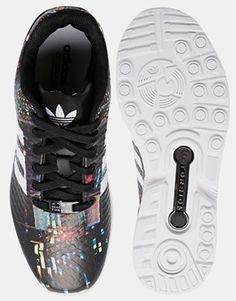 f79fe4697a1ff8 Adidas Originals ZX Flux Black Print Sneakers