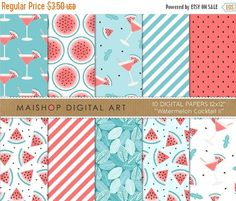 SALE Red and Blue Digital Paper 'Watermelon by MaishopDigitalArt