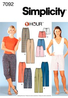 Simplicity 7092 Misses' Pants or Shorts in Two Lengths Skirt Patterns Sewing, Simplicity Sewing Patterns, Clothing Patterns, Sewing Pants, Sewing Clothes, Belleza Diy, Plus Size Patterns, Pants For Women, Clothes For Women
