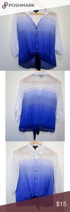 -->PERFECT Cut BCX Ombre Multiwear Beach retreat!!! Update your wardrobe with BCX's ombre Ocean print button down, perfect for summer! Cool and classy multi wear, easy to dress up or down! Polyester. Blue, purple and white medium, collared, tie bottem, keyhole sleeves. Polyester- Machine wash cold, Hang dry. Like new!  Feel free to like follow share and offer :) Thank you for the love! Nordstrom  Tops Button Down Shirts