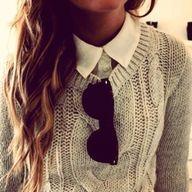 Hair, Collar, Sunglasses, Sweater