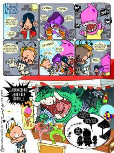 Alan Alien / Pagina 5 - Publicada en la revista infantil PIN - Guion & Arte (realizado de forma digital)
