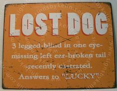 http://www.ebay.com/itm/Lost-Dog-Lucky-Sign-Garage-Shop-Bar-Pub-Man-Cave-Funny-Humor-Joke-Retro-Metal-/121431357783