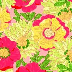 Cotton Quilt Fabric Lulu's Lounge Large Flowers Pink Pastel Yellow 1/2 Yard - product image