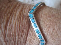 Sterling Cuff Turquoise Zuni Zig Zag Bracelet by VintagObsessions, $135.00