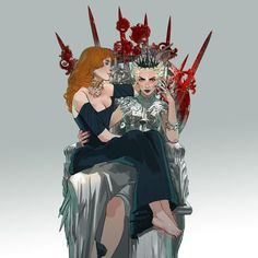 (Art by @mimibou) Evangeline Samos and Elane Haven both from the Red Queen series by Victoria Aveyard. #RedQueen